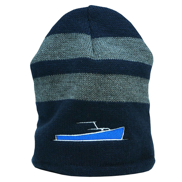 6c70d466 TotalBoat Winter Logo Beanie Navy and Gray Stripes